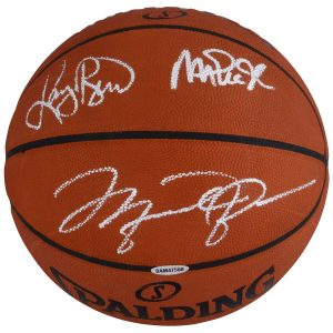 Autographed Magic Johnson, Larry Bird, Michael Jordan Fanatics Authentic Indoor/Outdoor Basketball