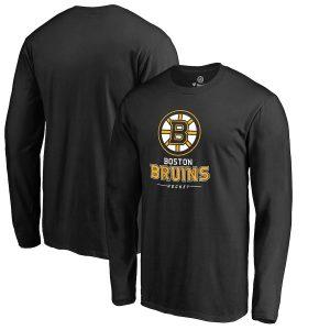 Boston Bruins Black Team Lockup Long Sleeve T-Shirt