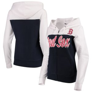Boston Red Sox 5th & Ocean by New Era Women's French Terry Color Block Full-Zip Hoodie – Navy/White