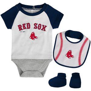 Boston Red Sox Newborn Baseball Kid Bodysuit, Bib & Booties Set – White