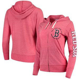 Boston Red Sox Touch by Alyssa Milano Women's Training Camp Full-Zip Hoodie – Heathered Red