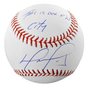David Ortiz Boston Red Sox Fanatics Authentic Autographed Baseball with This Is Our F'N City Inscription