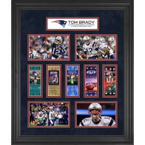 Fanatics Authentic Tom Brady New England Patriots Framed 23″ x 27″ 5-Time Super Bowl Champion Ticket Collage