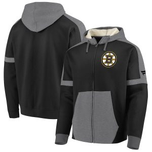 Fanatics Branded Boston Bruins Black/Heathered Gray Iconic Fleece Full-Zip Hoodie