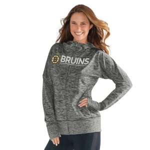 G-III 4Her by Carl Banks Boston Bruins Women's Heathered Gray Receiver Full-Zip Hoodie