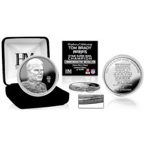 Highland Mint New England Patriots Tom Brady 5-Time Super Bowl Champion 39mm Silver Team Coin