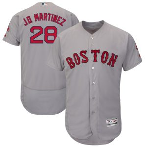 JD Martinez Boston Red Sox Majestic Authentic Collection Flex Base Player Jersey – Gray