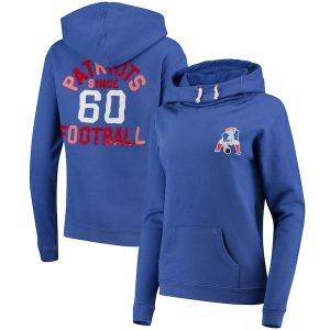 Junk Food New England Patriots Women's Royal Throwback Sunday Funnel Neck Pullover Hoodie