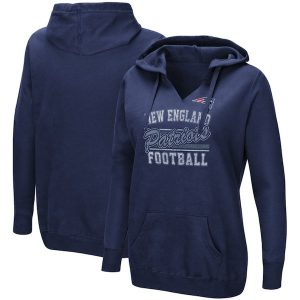 Majestic New England Patriots Women's Navy Quick Out V-Neck Hoodie