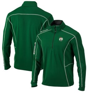 Men's Boston Celtics Columbia Kelly Green Omni-Wick Shotgun Quarter-Zip Pullover Jacket