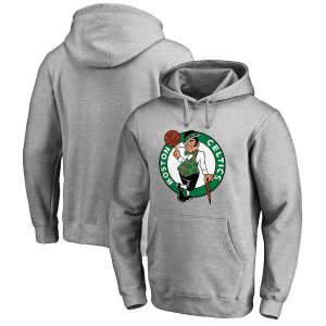 Men's Boston Celtics Fanatics Branded Heathered Gray Primary Logo Pullover Hoodie