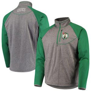 Men's Boston Celtics G-III Sports by Carl Banks Gray/Kelly Green Mountain Trail Half-Zip Pullover Jacket