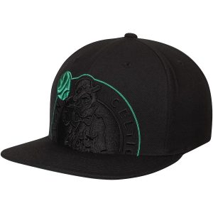 Men's Boston Celtics Mitchell & Ness Black Cropped XL Adjustable Snapback Hat