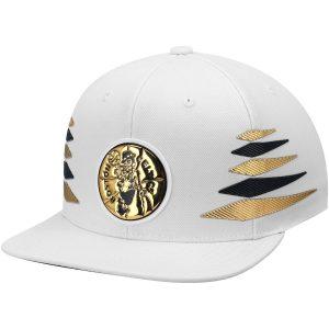 Men's Boston Celtics Mitchell & Ness White Solid Gold Diamond Snapback Adjustable Hat