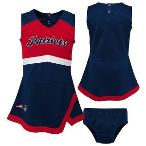 New England Patriots Girls Toddler Navy/Red Cheer Captain Jumper Dress