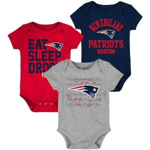 New England Patriots Newborn & Infant Navy/Red Eat, Sleep, Drool Football Three-Piece Bodysuit Set