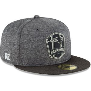 59119c3e7 New Era New England Patriots Heather Gray Heather Black 2018 NFL Sideline  Road Black 59FIFTY