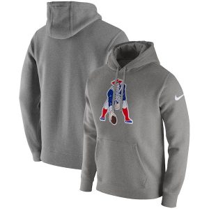 Nike New England Patriots Heather Gray Fan Gear Club Throwback Pullover Hoodie