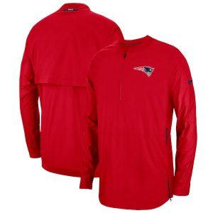 Nike New England Patriots Red Sideline Lockdown Quarter-Zip Jacket