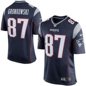 Nike Rob Gronkowski New England Patriots Navy Blue/Silver Game Jersey
