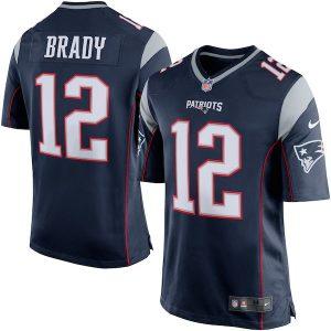 Nike Tom Brady New England Patriots Navy Blue/Silver Game Jersey