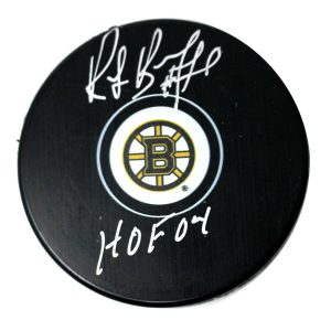 "Ray Bourque Signed Boston Bruins Puck w/ ""HOF"" Insc"