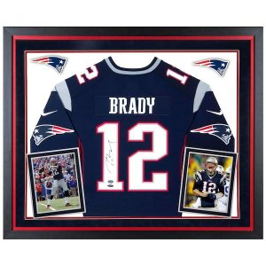 Tom Brady New England Patriots Deluxe Framed Autographed Nike Navy Limited Jersey – TRISTAR