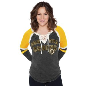 Touch by Alyssa Milano Boston Bruins Women's Black Backshot Lace-Up Long Sleeve T-Shirt