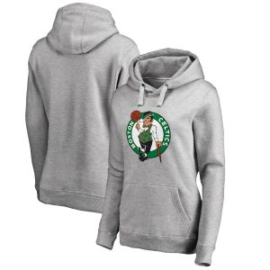 Women's Boston Celtics Fanatics Branded Ash Primary Logo Pullover Hoodie