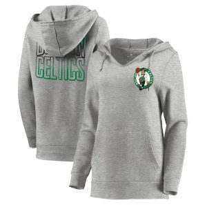 Women's Boston Celtics Let Loose by RNL Ash Team Logo Fleece Tri-Blend Pullover Hoodie