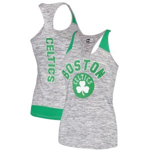 Women's Boston Celtics New Era Heathered Gray/Kelly Green Space Dye Racer Back Tank Top