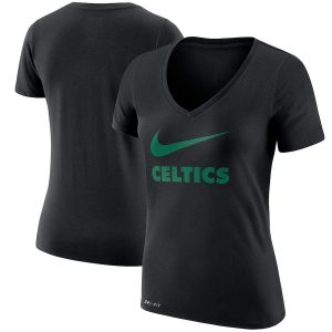 Women's Boston Celtics Nike Black Swoosh V-Neck T-Shirt