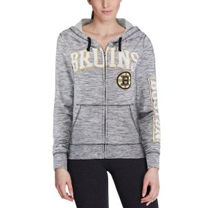 Boston Bruins 5th & Ocean by New Era Women's French Terry Space Dye Full-Zip Hoodie – Heathered Black