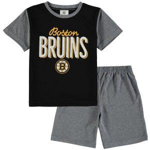 Boston Bruins Fanatics Branded Toddler Nostalgia Poly Two-Piece T-Shirt & Shorts Set – Black/Heathered Gray