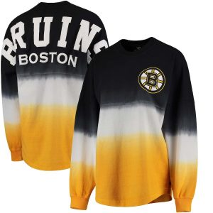 Boston Bruins Fanatics Branded Women's Ombre Spirit Jersey Long Sleeve Oversized T-Shirt – Black/Gold