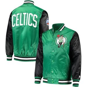 Boston Celtics Starter Satin Full-Snap Jacket – Kelly Green/Black