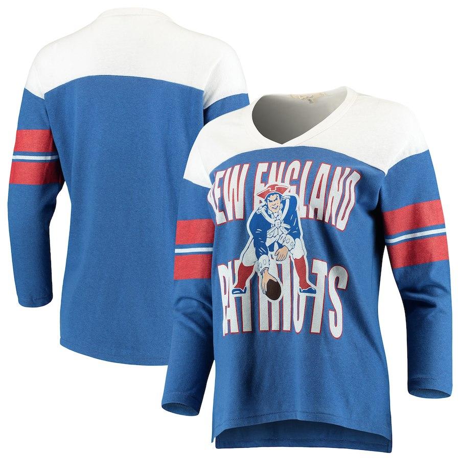 best service b1b30 e8a08 Junk Food New England Patriots Women's Royal/White Throwback Football Long  Sleeve T-Shirt