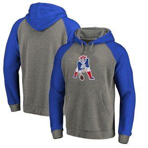 New England Patriots NFL Pro Line by Fanatics Branded Throwback Logo Tri-Blend Raglan Pullover Hoodie – Gray/Royal