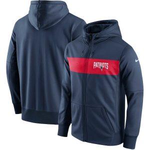 New England Patriots Nike Team Sideline Full-Zip Performance Hoodie – Navy