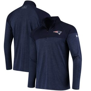 New England Patriots Under Armour Combine Authentic Novelty Tech Quarter-Zip Pullover Jacket – Navy