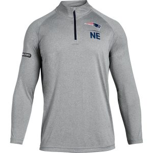 Under Armour New England Patriots Heathered Gray Combine Authentic Lockup Tech Quarter-Zip Jacket