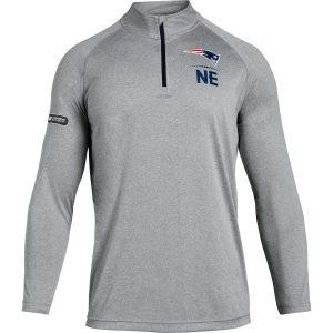 Under Armour New England Patriots Heathered Gray Combine Authentic Lockup Tech Quarter-Zip Jacket