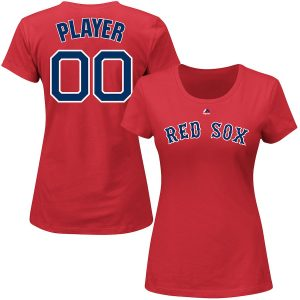 Ships Free Boston Red Sox Majestic Women's Custom Roster Name & Number T-Shirt – Red